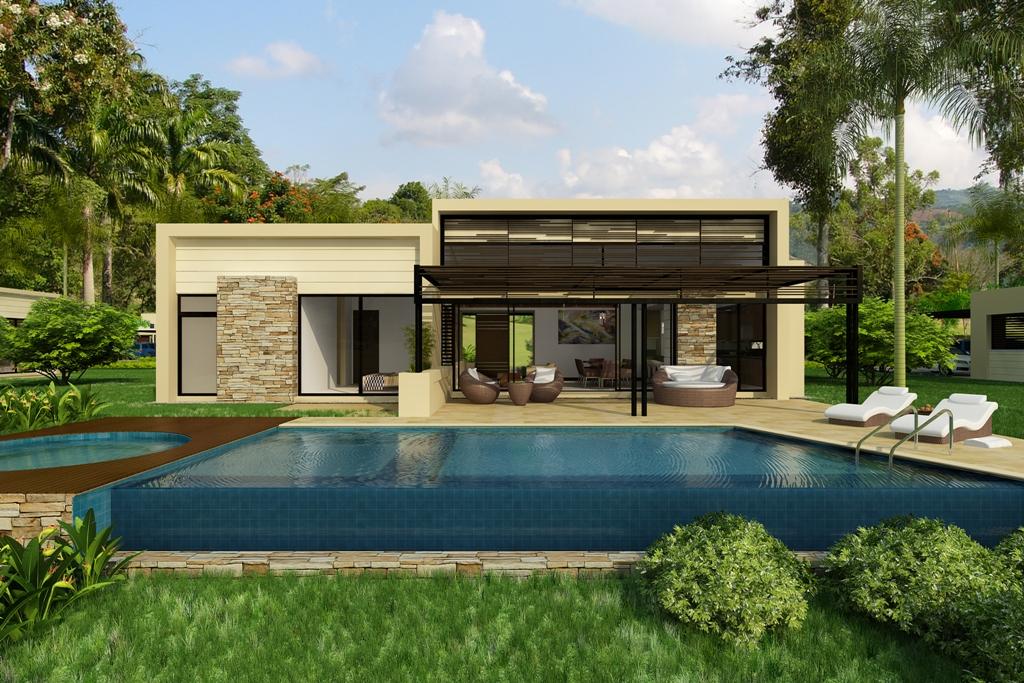 Fachada de casas minimalistas y modernas licencias de for Modelos de casas campestres modernas