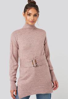 Дамски плетен Пуловер със странични цепки - Na-Kd
