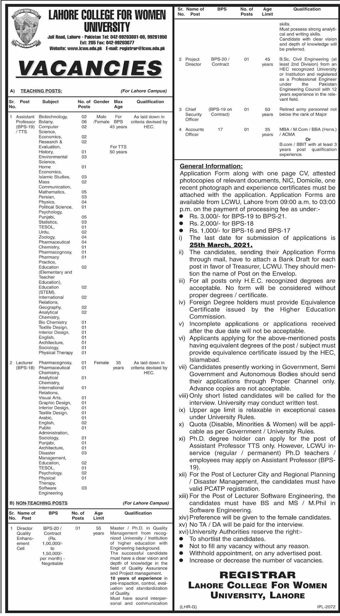 http://www.lcwu.edu.pk/lcwu-career.html - Download Job Application and Challan Form - LCWU Jobs 2021 - Lahore College For Women University Jobs 2021 - www.lcwu.edu.pk - registrar@lcwu.edu.pk