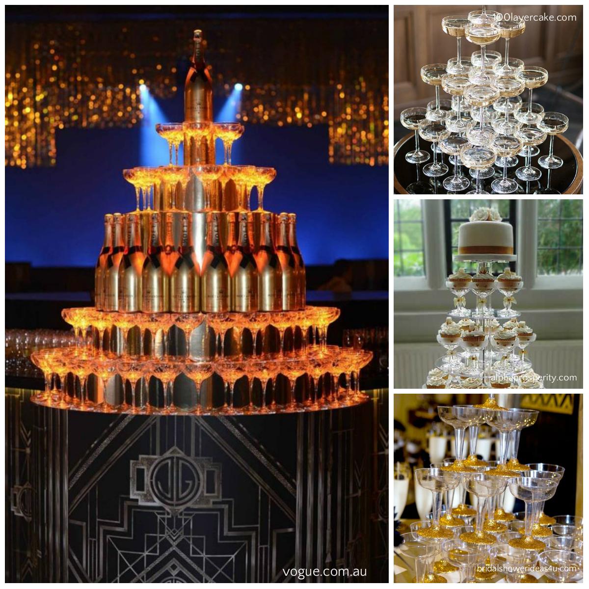 a12f8cfb402f Altro elemento interessante da inserire in questo party sono le torri di  bicchieri con champagne a cascata. Si proprio quelle che si vedono nei film  e si ...