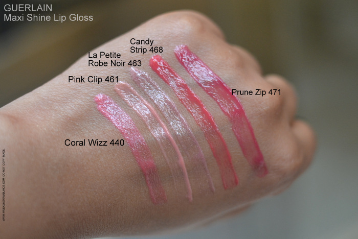 Guerlain Maxi Shine D'Enfer Lipgloss Swatches Candy Strip 468 Coral Wizz 440 Pink Clip 461 La Petite Robe Noir 463 Prune Zip 471 Praline Blop 401 Browny Clap 402 Brun Buzz 403 Rouge Shebam 420 Tangerine Vlam 441 Indian Beauty Makeup Blog