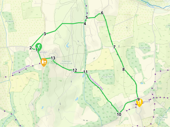 Map for Walk 20: The Essendon Loop Created on Map Hub by Hertfordshire Walker Elements © Thunderforest © OpenStreetMap contributors There is an interactive map at the foot of this page