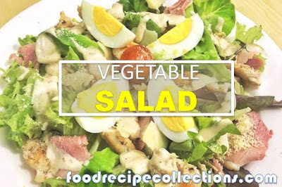 Vegetables Salad with Chicken Saussage and Cramble Egg
