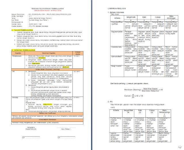 RPP 1 Lembar Kelas 4 SD/MI Tema 2: Selalu Berhemat Energi
