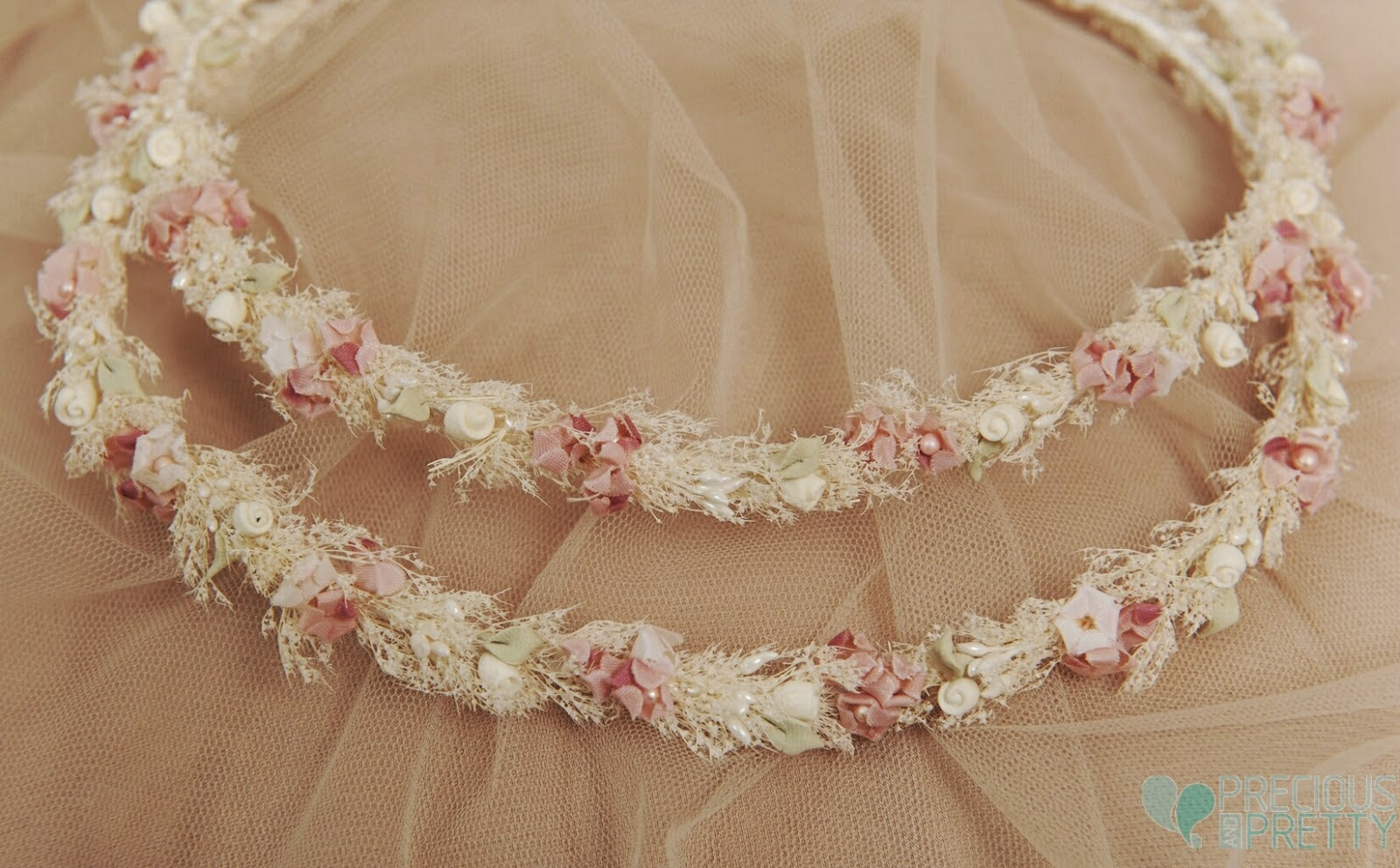 Wedding crowns with dried baby's breath flowers