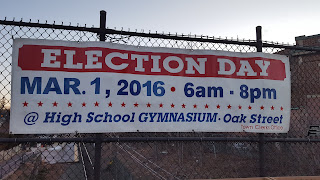 Primary election day - March 1 all of Franklin votes at Franklin High School