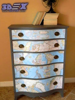 Art furniture with world maps, world map art decor, chest of drawers with world map