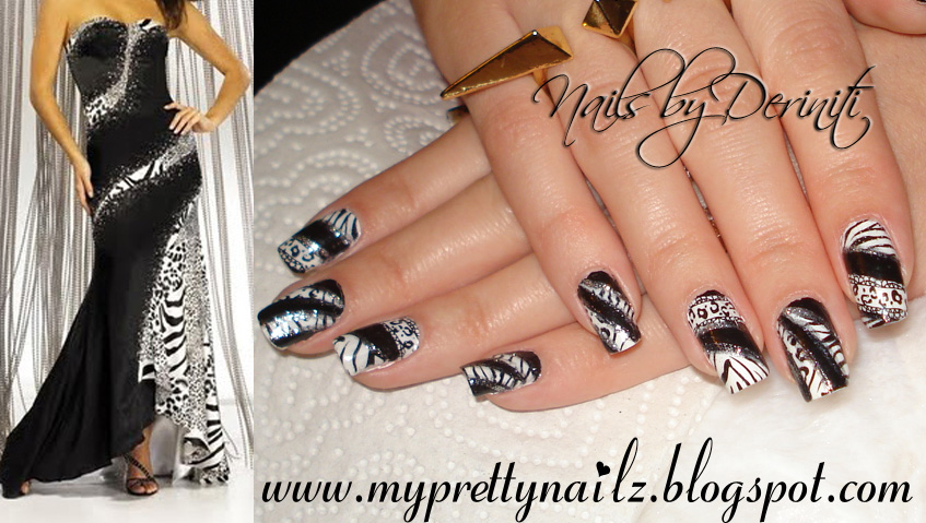 Black and white animal print fashion inspired nail art design and video tutorial