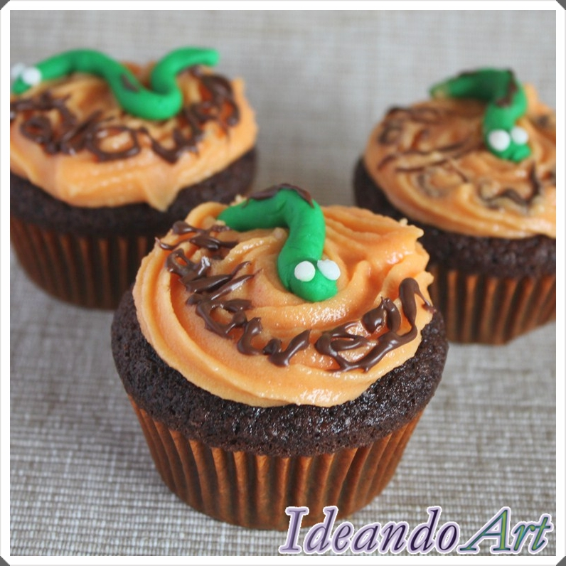 Cupcakes gusanitos Halloween
