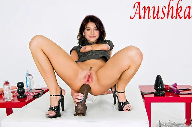 Anushka Sharma spreading naked leg fucking big dildo in her big ass hole