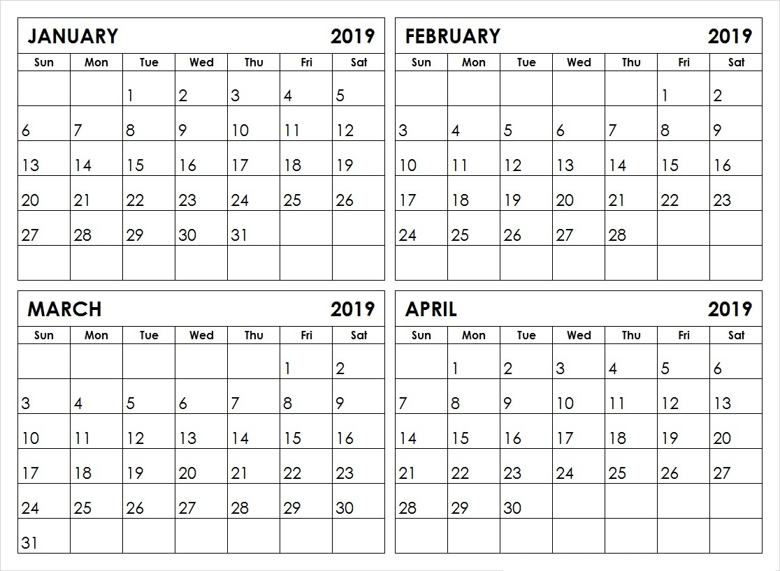January February March And April 2019 Calendar