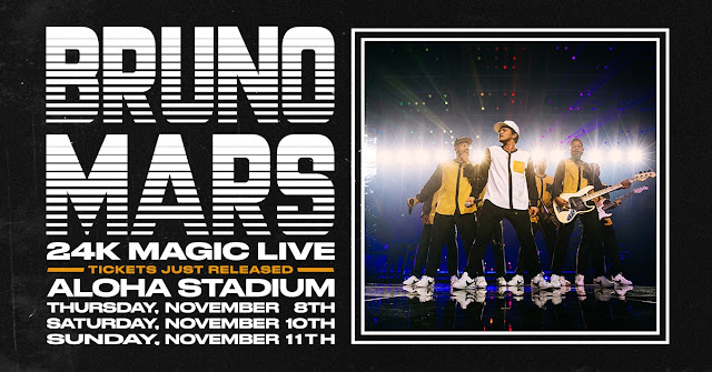 Bruno Mars' 24k Magic World Tour Releases Additional Tickets For All Three Previously Sold Out Aloha Stadium Shows