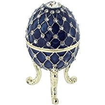 Juliana Blue Treasured Trinket Faberge-Style Egg Jewellery Box