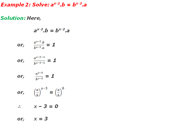 Example 2: Solve: ax-2.b = bx-2.a
