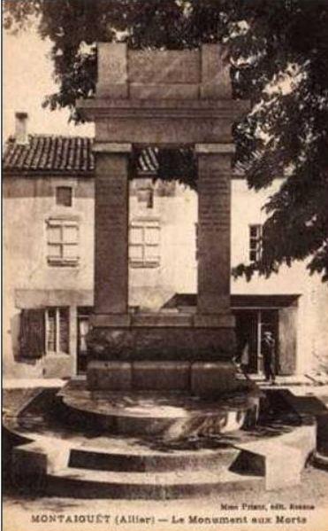 CPA monuments aux Morts de l'Allier, Montaiguêt