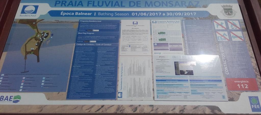 Placa Informação da Praia Fluvial de Monsaraz