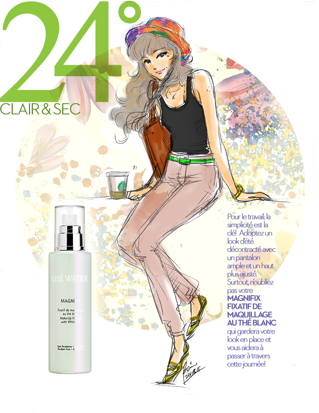 LiseWatier Magnifix, Cosmetics products, fashion illustration, Summer Casual style girl in dustypink corail jeans and bowler hat, drawing by Ben Liu