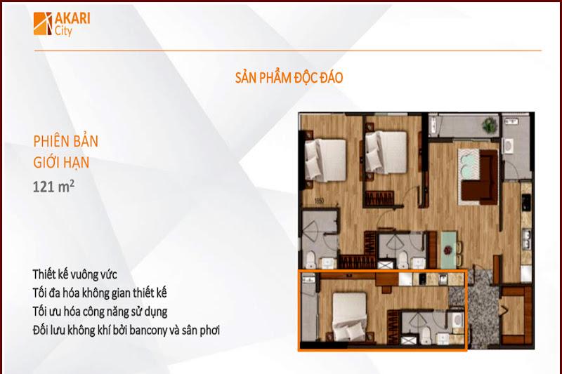 Thiết kế căn hộ Akari City 121m2