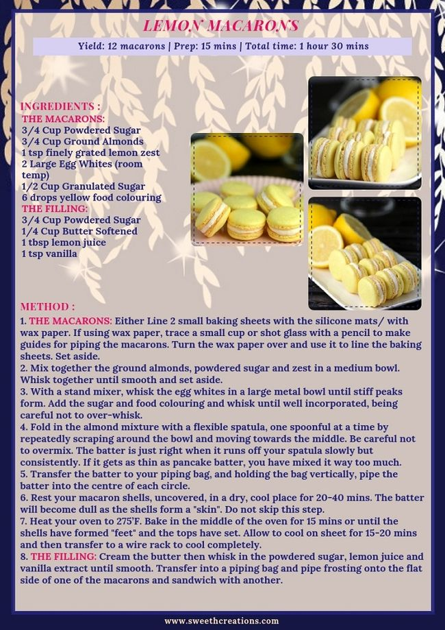 LEMON MACARONS RECIPE