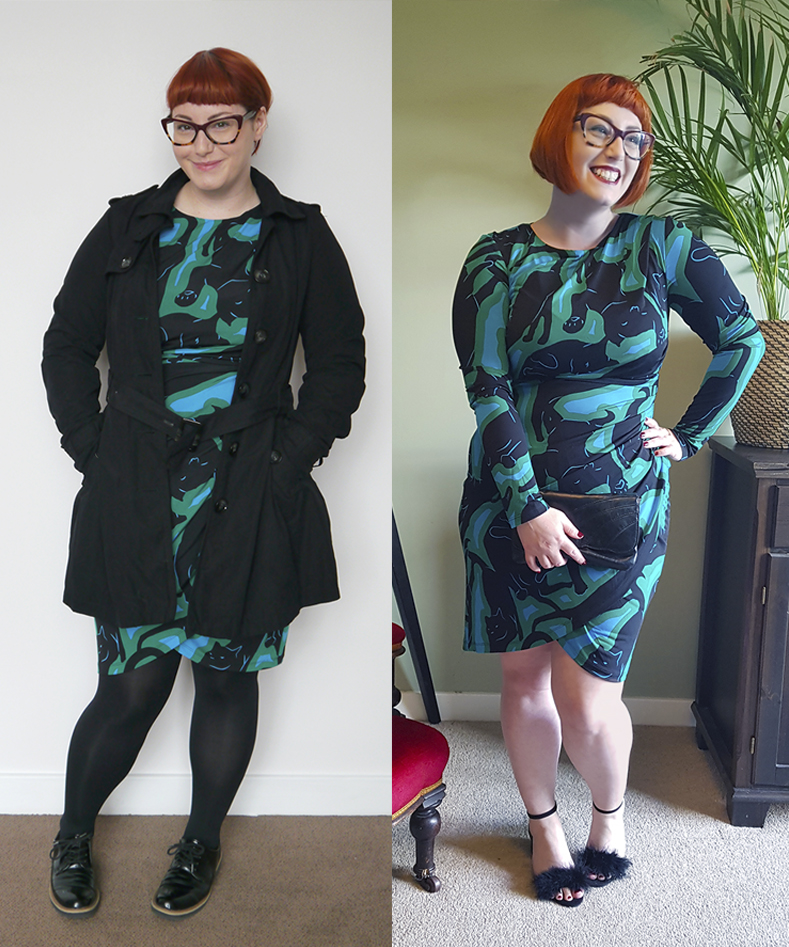 Scottish blogger Helen from Wardrobe Conversations wears a Jenners dress to show to how dress up a work outdfit for Friday night cocktails, as worn for Edinburgh Cocktail Weekend