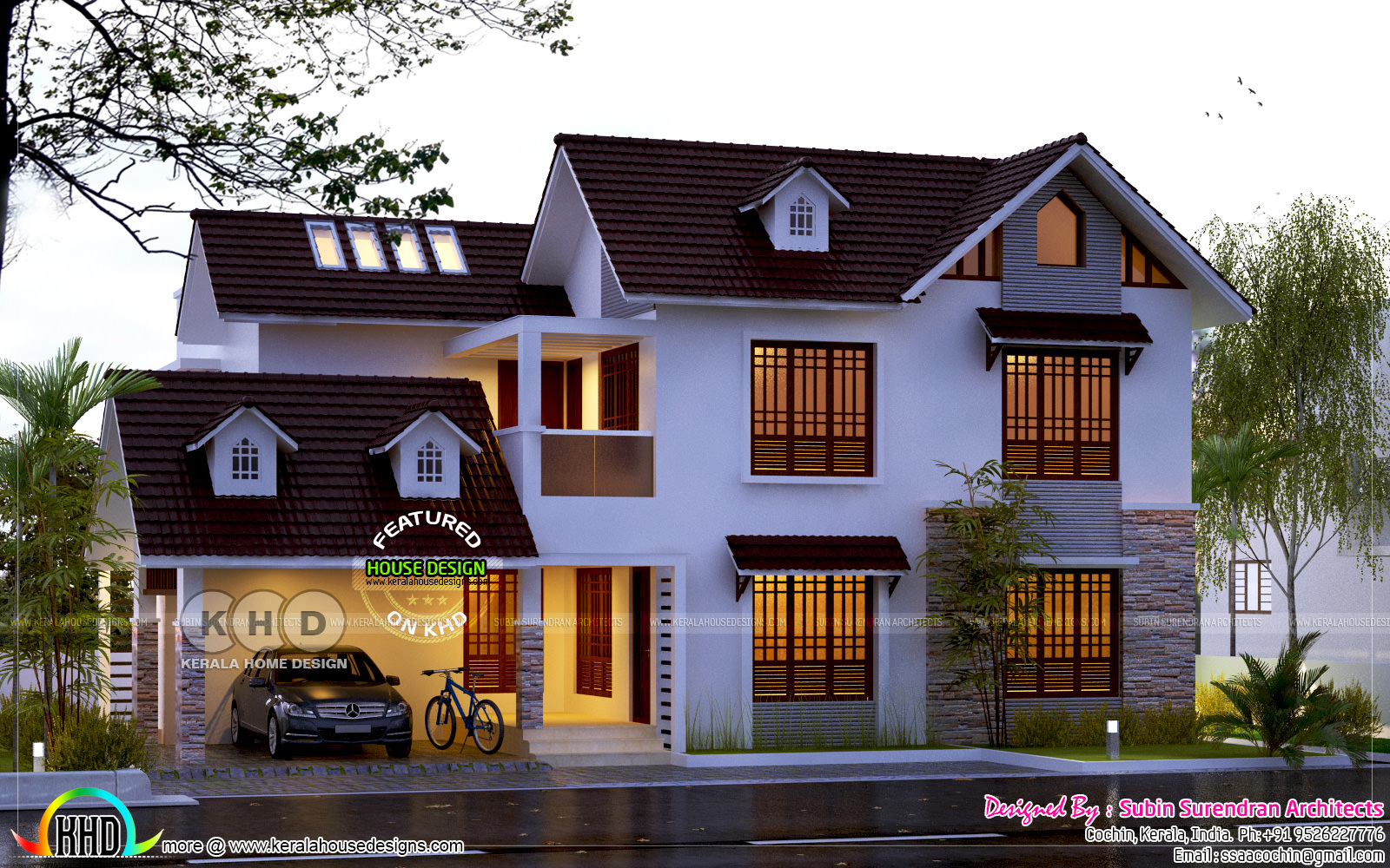 2500 square feet 4 bedroom sloping roof home kerala home for 2500 sq ft house plans in kerala