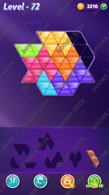 Block! Triangle Puzzle 7 Mania Level 72 Solution, Cheats, Walkthrough for Android, iPhone, iPad and iPod