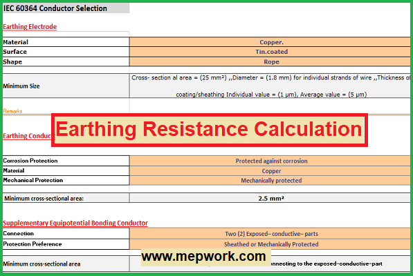 Earthing Resistance Calculation Excel Sheet Based On IEEE/BS/IEC