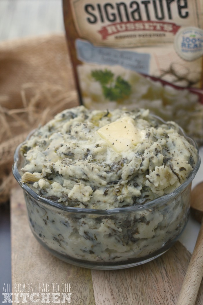 Garlicky Greens and Parmesan Mashed Potatoes | #SignatureRussets