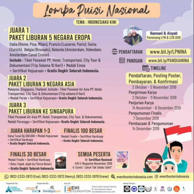 Lomba Puisi Nasional Indonesiaku Kini 2019 di Event Hunter Indonesia Hadiah Utama Paket Liburan Ke 5 Negara
