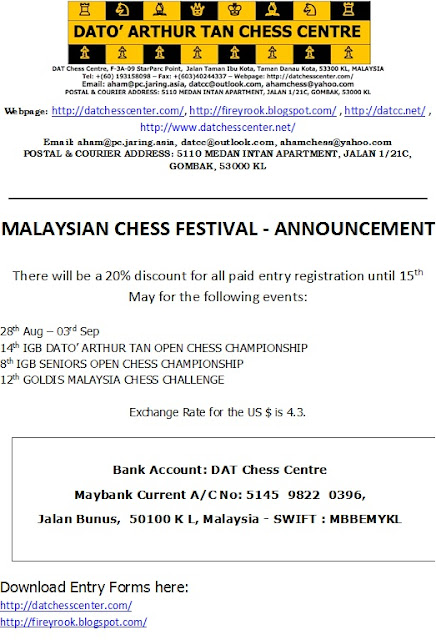 Twenty Percent Discount For Malaysia Chess Festival 2017