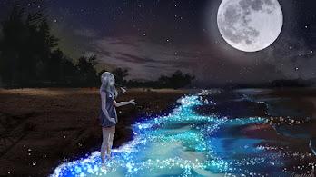 Anime, Scenery, Girl, Night, Beach, Moon, 4K, #258