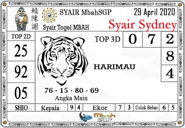 Kode Syair sdy Rabu 29 April 2020