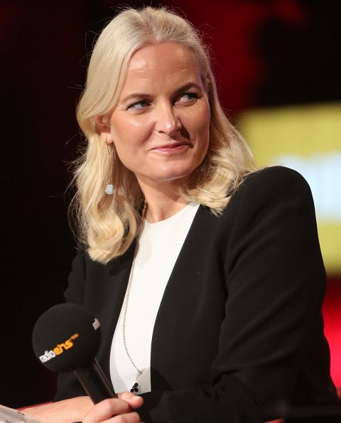 Crown Princess Mette-Marit wore a white polka dot belted skirt and black short jacket. The Homeland and other stories