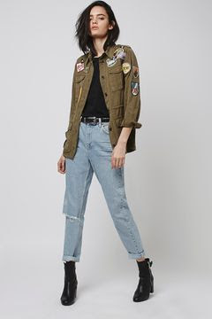 Patches on my utilitarian jacket, $95 from Topshop