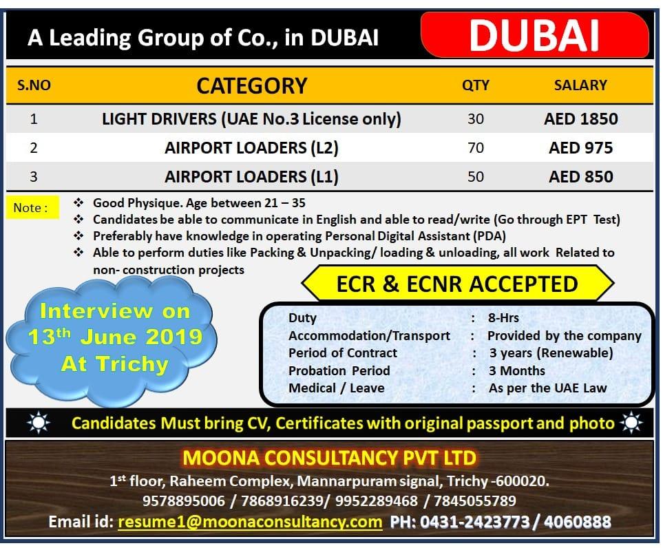 COMPANY DUBAI KALANDOOR GROUP 20/11/2018 | Moona Consultancy