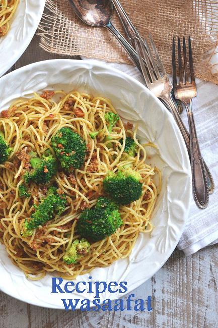 Broccoli and garlic bread crumb spaghetti