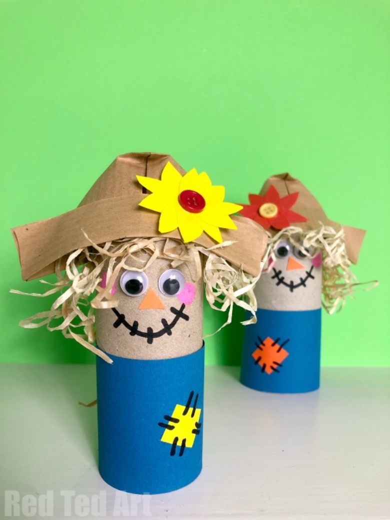 toilet paper roll scarecrow autumn craft for kids