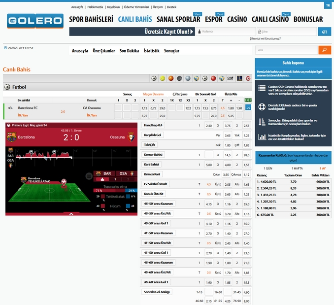 Golero Live Betting Screen