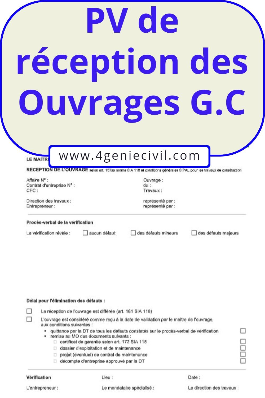 Exemple de pv de réception d'un ouvrage génie civil | Cours génie civil - Outils, livres ...