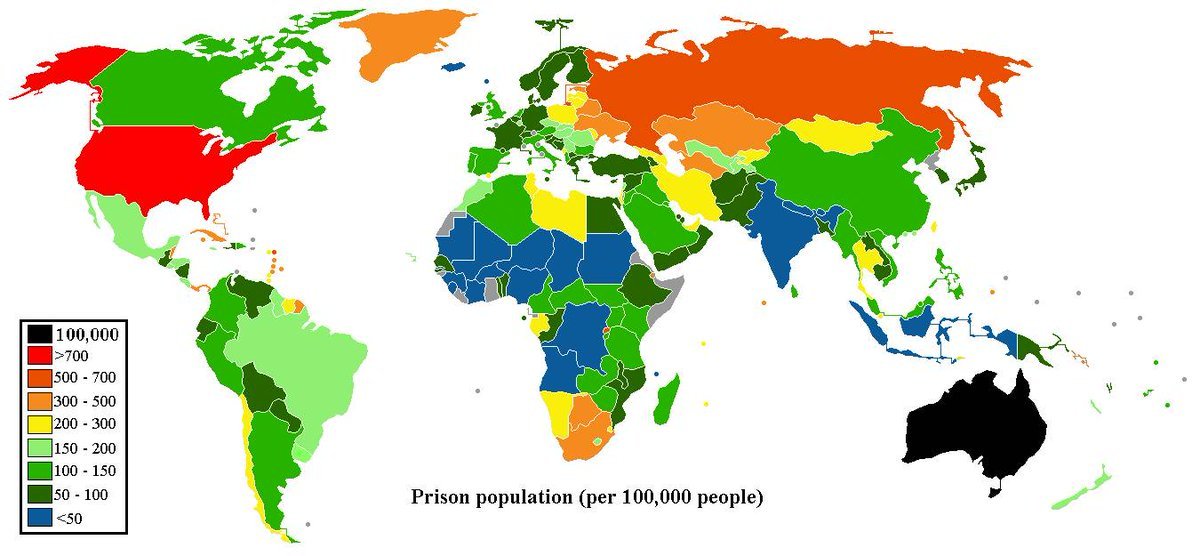 Prison population per 100 000 people in the world