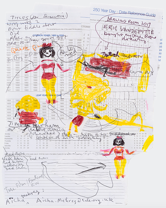 drawing, Rose Wylie  Yellow Girls, Diary Page, 2018