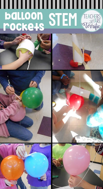 STEM Challenge with balloons! Students create a vertical balloon rocket blast-off. This remarkably challenging project will make them design and redesign and in the end cheer loudly! Fabulous STEM Challenge!