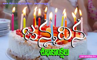 "Telugu greetings on Birthday  ""Janmadina Subhakankshalu"" birthday greetings with candles and cakes"