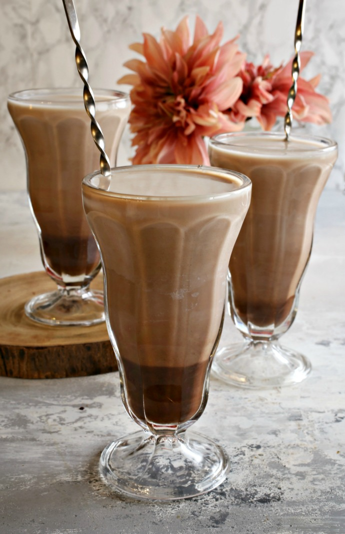 Recipe for a boozy chocolate soda with cold milk, peanut butter and whiskey.