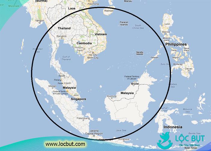 Bản đồ phân bố của loài chim yến trên thế giới.