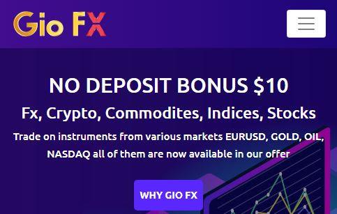 Bonus Forex Tanpa Deposit GioFX $10