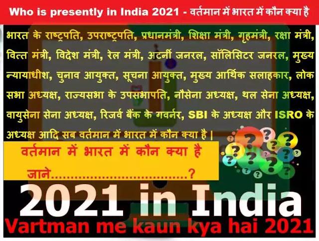 वर्तमान में भारत में कौन क्या है, Vartman me kaun kya hai 2021, 2021 in India, GK in Hindi, Gk