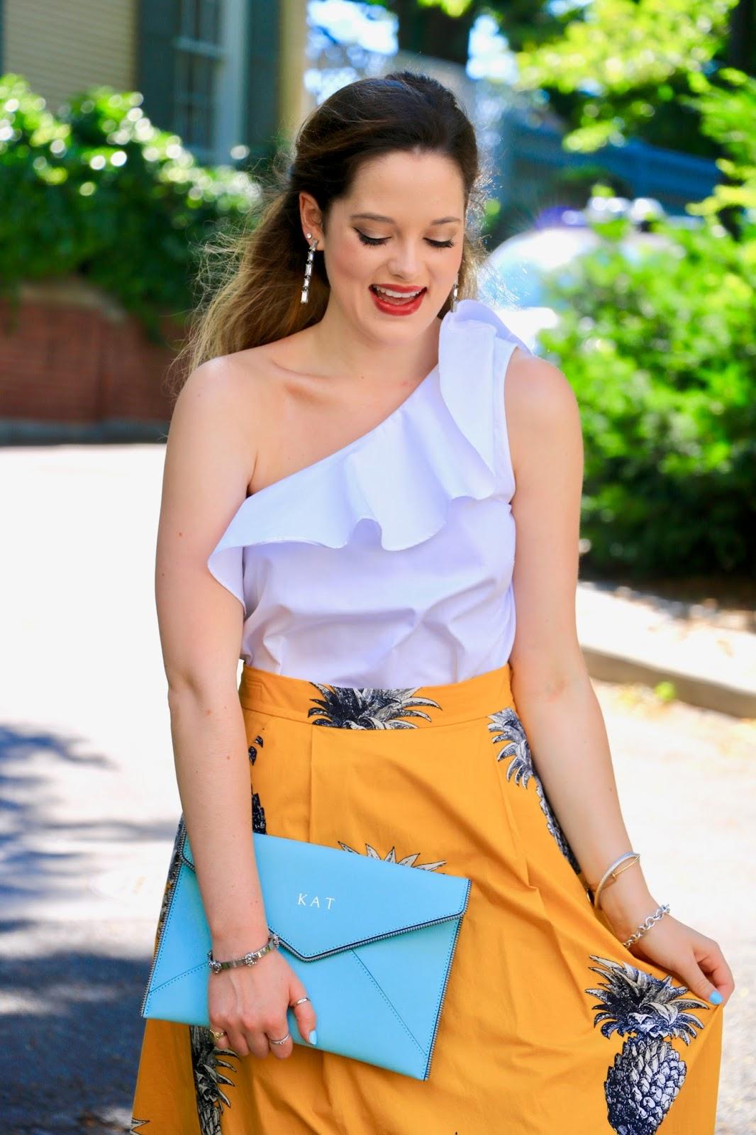 nyc fashion blogger Kathleen Harper wearing an ann taylor one-shoulder ruffle top