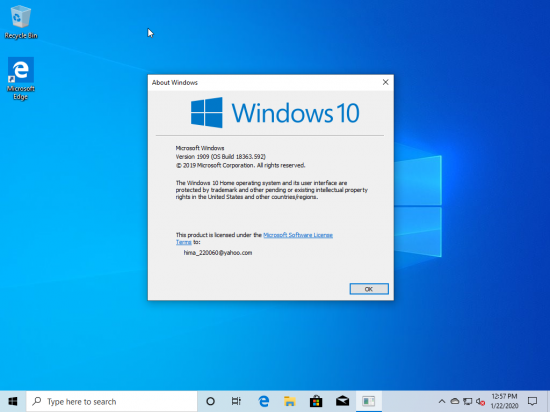 Windows 10 Home 19H2 1909.10.0.18363.592 poster box cover