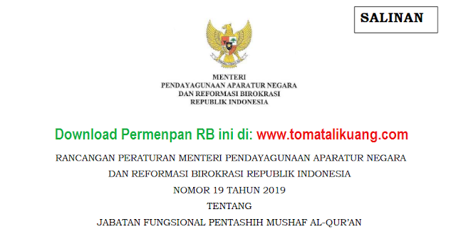 permenpan rb ri nomor 19 tahun 2019; tomatalikuang.com